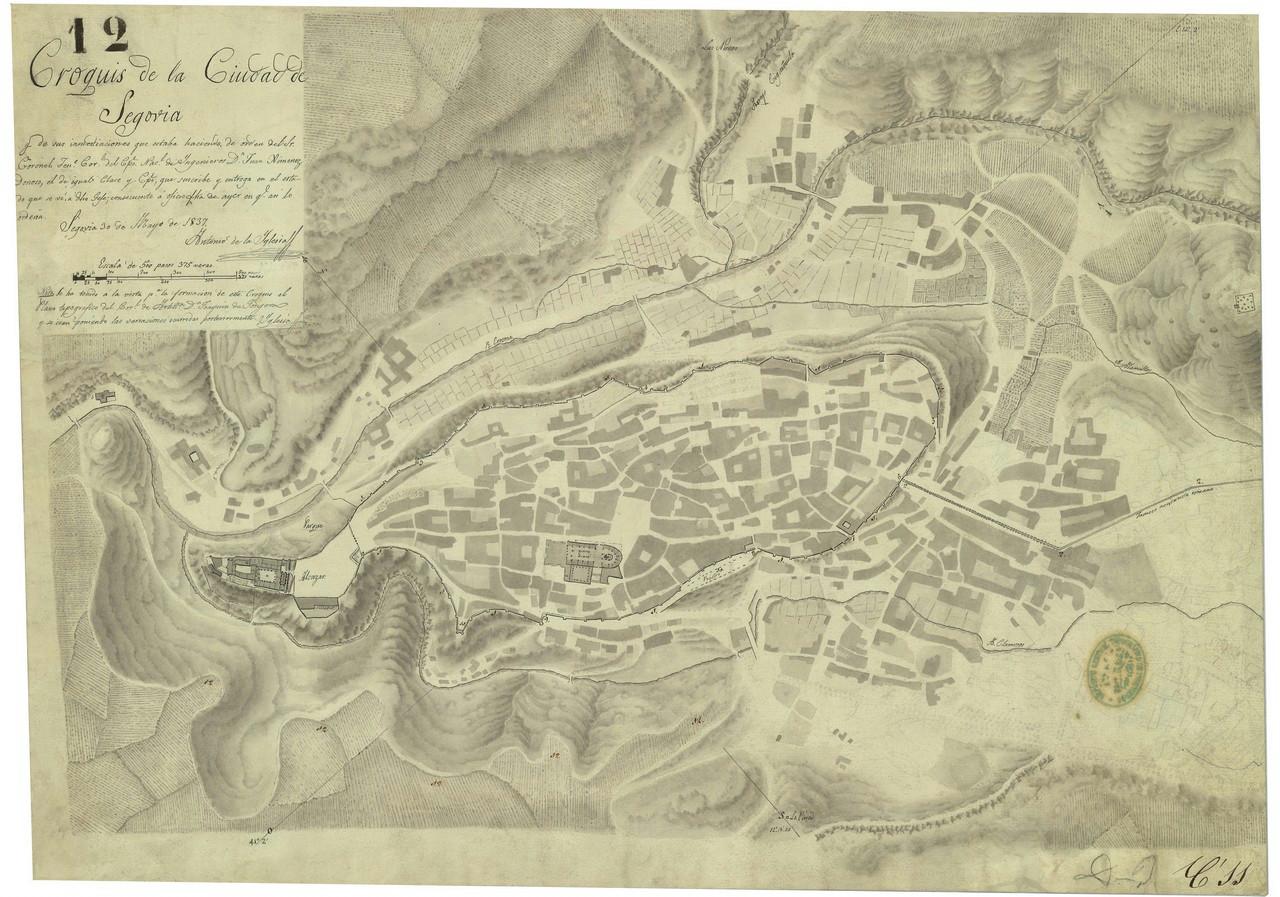 Detalle del croquis de la ciudad de Segovia de Antonio de la Iglesia, 1837. 3.- ARCHIVO GENERAL MILITAR DE MADRID. Signatura SG 01-09.