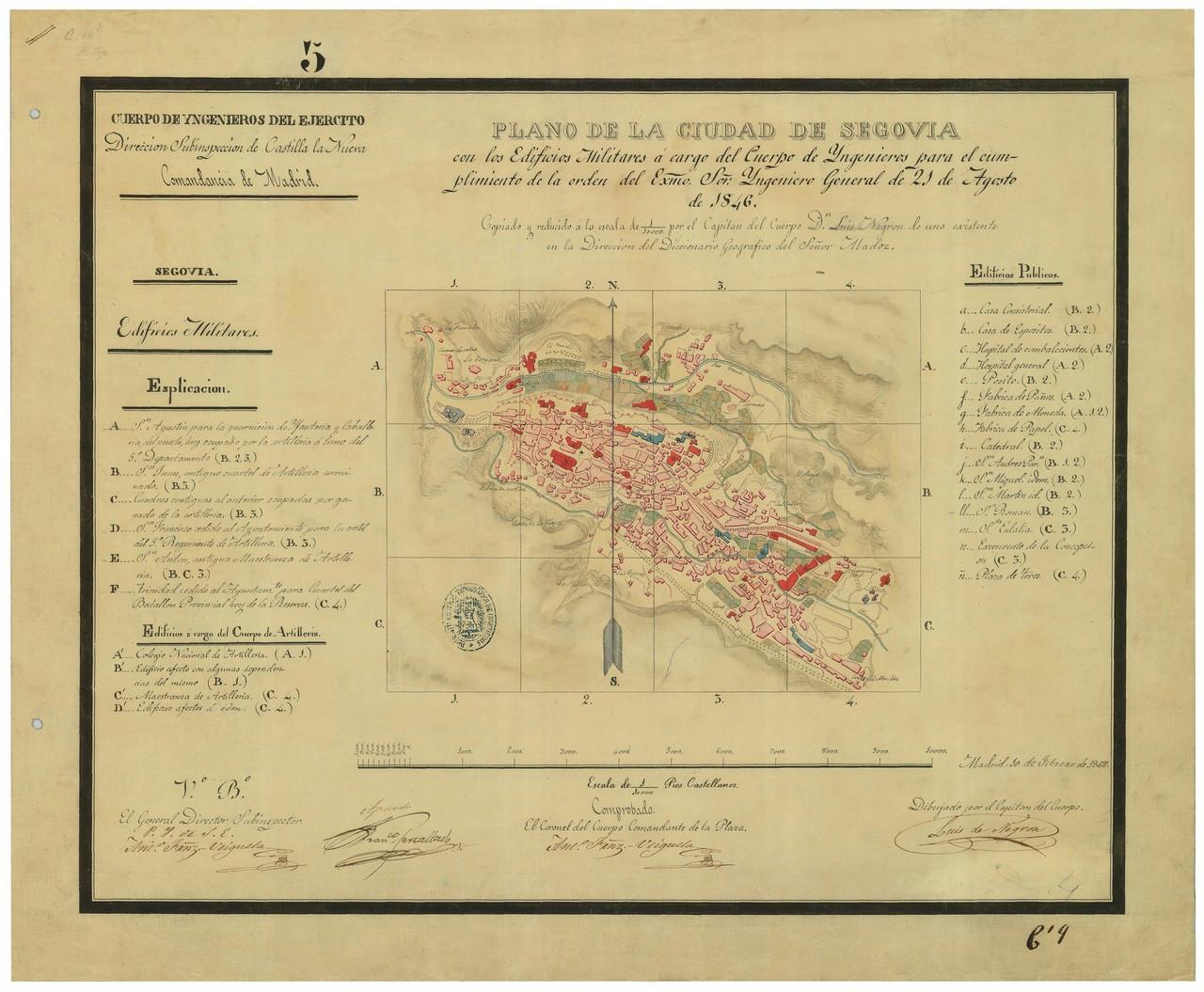 Detalle del plano de Segovia de Luís Negrón, 1846. 4.- ARCHIVO GENERAL MILITAR DE MADRID. Signatura SG 01-10.