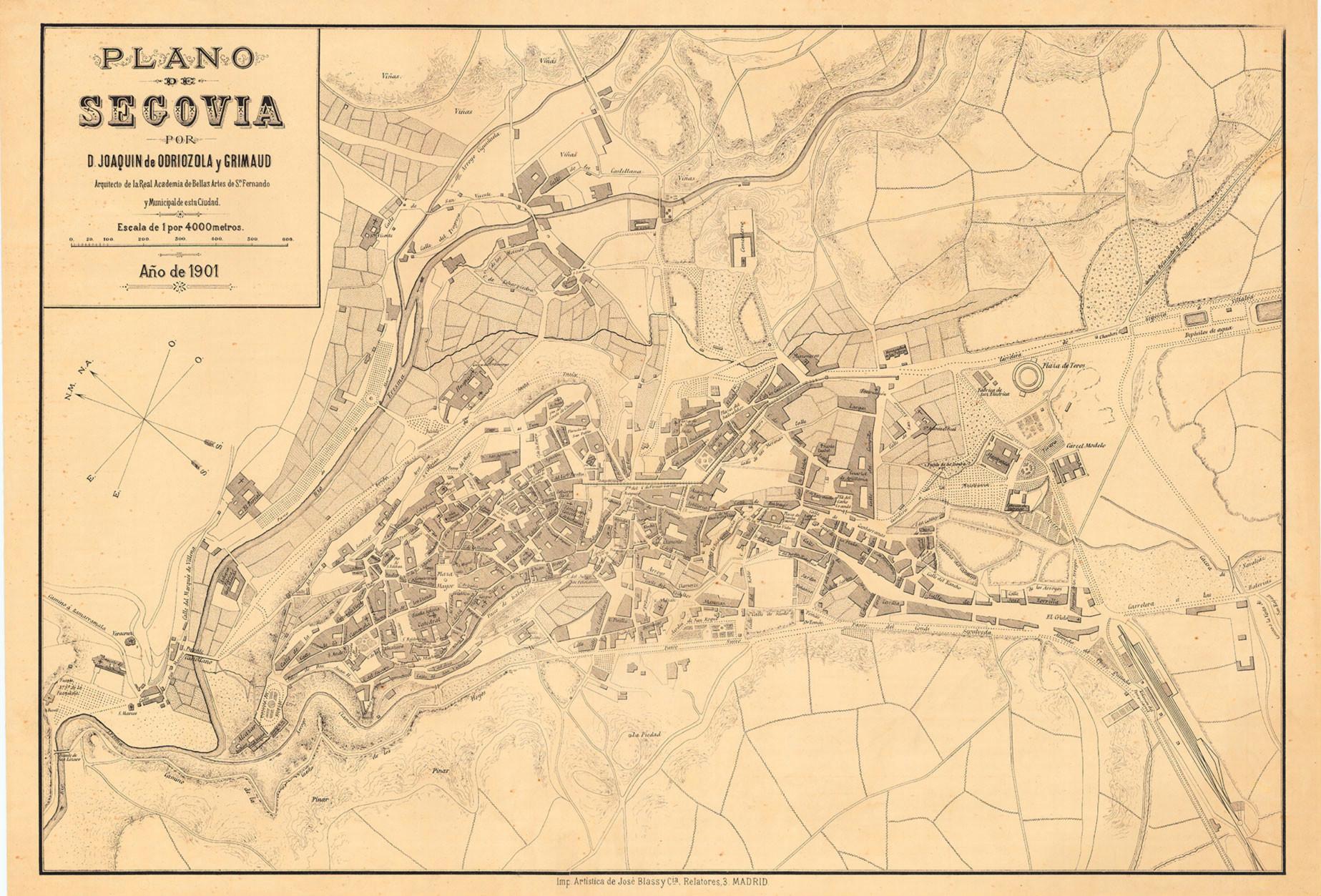 Detalle del plano de Segovia de, J. Odriozola, 1901. 6.- ARCHIVO CARTOGRÁFICO Y DE ESTUDIOS GEOGRÁFICOS DEL CENTRO GEOGRÁFICO DEL EJÉRCITO.
