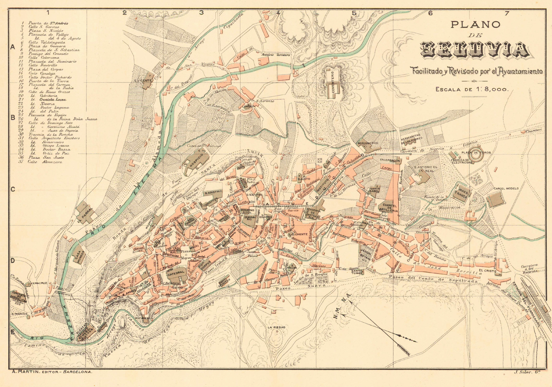 Detalle del plano de Segovia de J. Soler, 1909-1917. 7.- ARCHIVO CARTOGRÁFICO Y DE ESTUDIOS GEOGRÁFICOS DEL CENTRO GEOGRÁFICO DEL EJÉRCITO.