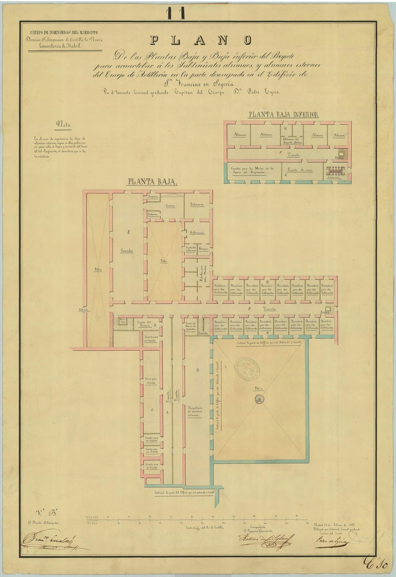 Proyecto del internado de subtenientes alumnos, plantas baja y baja inferior, 1852. El patio inferior de la derecha es el jardín del Magnolio, el superior central el de las Acacias y el superior de la izquierda hoy forma parte de la calle Almira. 8.- ARCHIVO GENERAL MILITAR DE MADRID. Signatura SG 01-14.