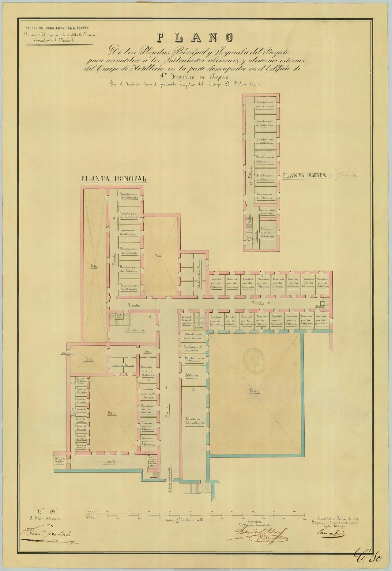 Proyecto del internado de subtenientes alumnos, plantas principal y segunda, 1852. El patio inferior a la izquierda es el de Ordenanzas, y el que está por encima de él hoy forma parte de la calle Almira. 9.- ARCHIVO GENERAL MILITAR DE MADRID. Signatura SG 01-15.