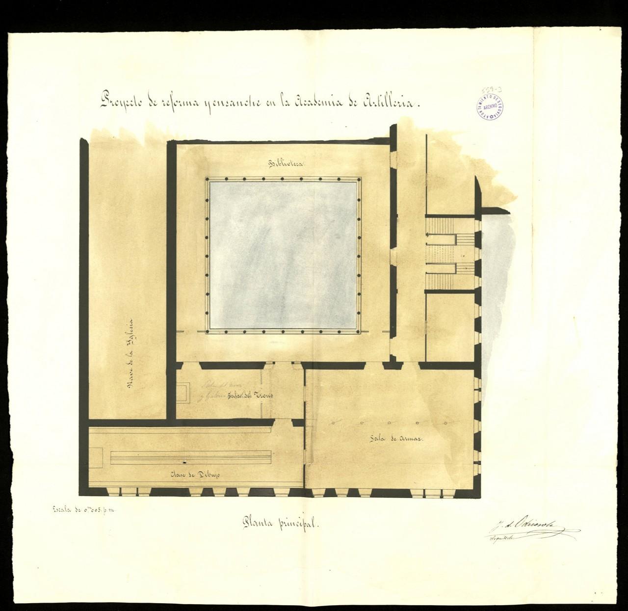 Proyecto de reforma y ensanche en la Academia de Artillería, planta principal, 1880. 23.- Archivo Municipal de Segovia. Signatura 559-3.