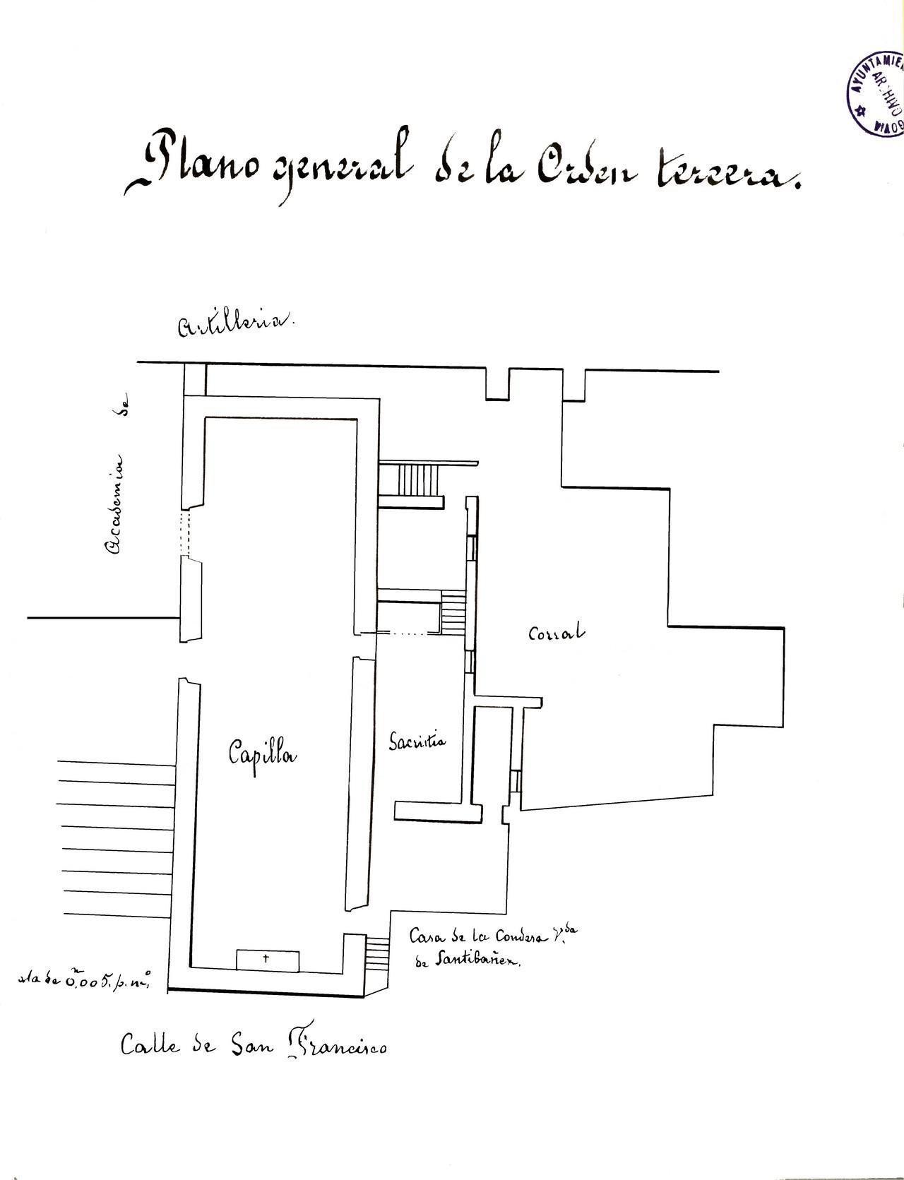 Plano de la capilla de la Orden Tercera de San Francisco, 1878. 24.- Archivo Municipal de Segovia. Signatura 885-9.