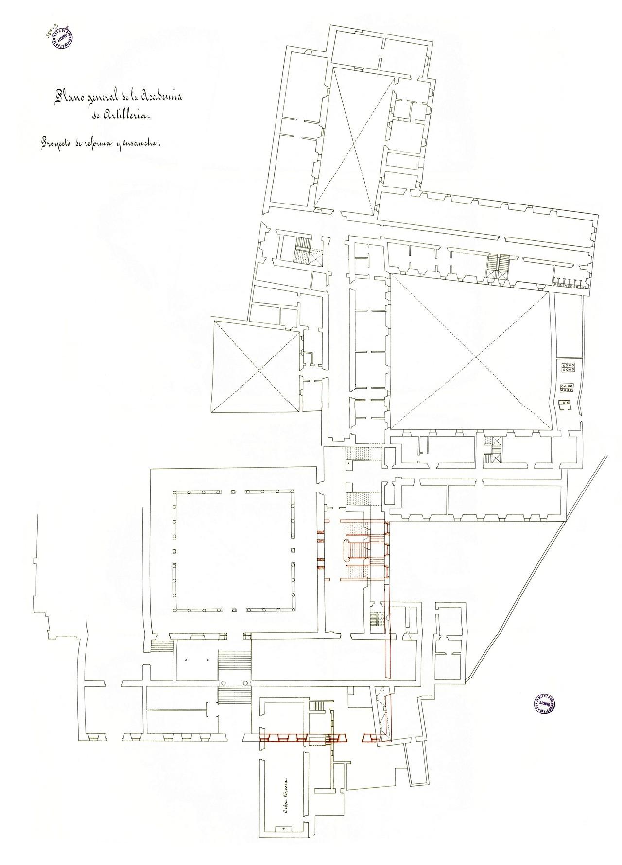 Academia de Artillería, plano de la planta baja. Proyecto de demolición de la capilla de la Orden Tercera, 1880. 25.- Archivo Municipal de Segovia Signatura 559-3.