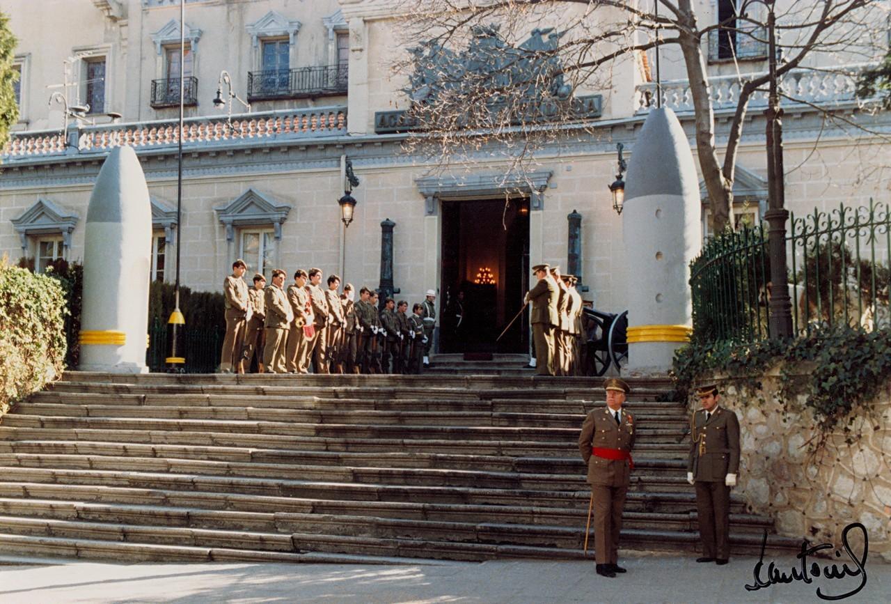 Fachada de San Francisco, 1984. Las garitas se derribaron a principios de 1986. 33.- ACADEMIA DE ARTILLERÍA, BIBLIOTECA. FOT. 4-D-27.