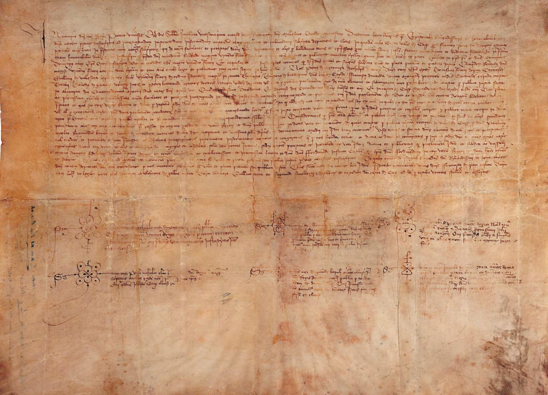Acta original de la elección por unanimidad de Fernando de Antequera como rey de Aragón por los compromisarios de Caspe