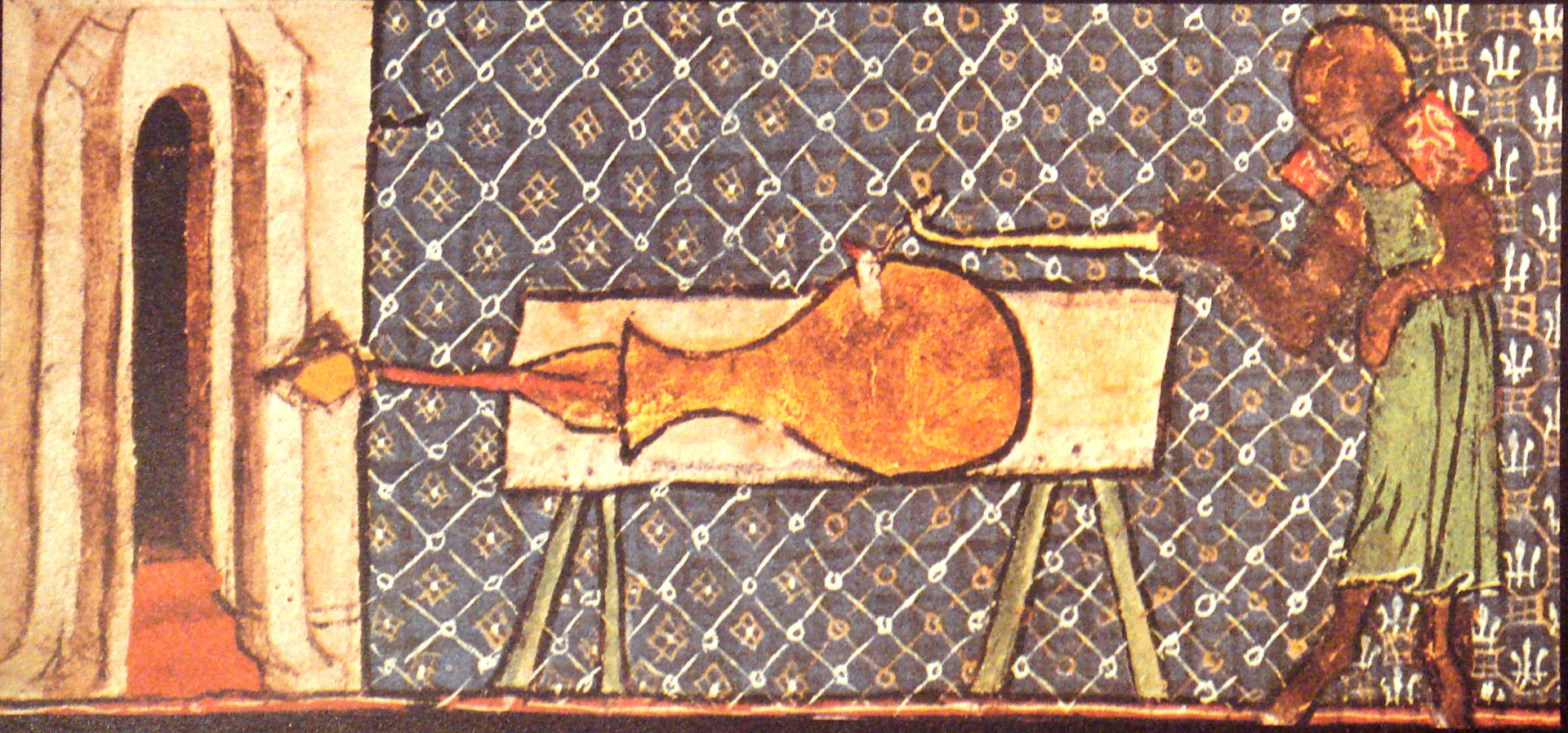 """La imagen más antigua que se conoce de un cañón europeo, """"De Nobilitatibus Sapientii Et Prudentiis Regum"""", Walter de Milemete, 1326."""