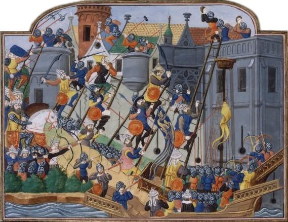 Representación del asedio a Constantinopla.