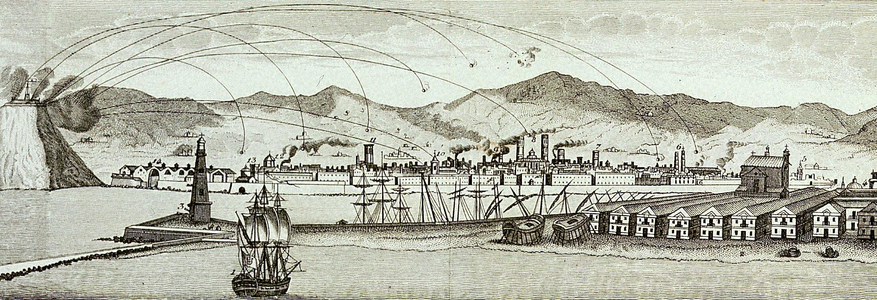 Bombardeo de la ciudad desde el castillo de Montjuic.
