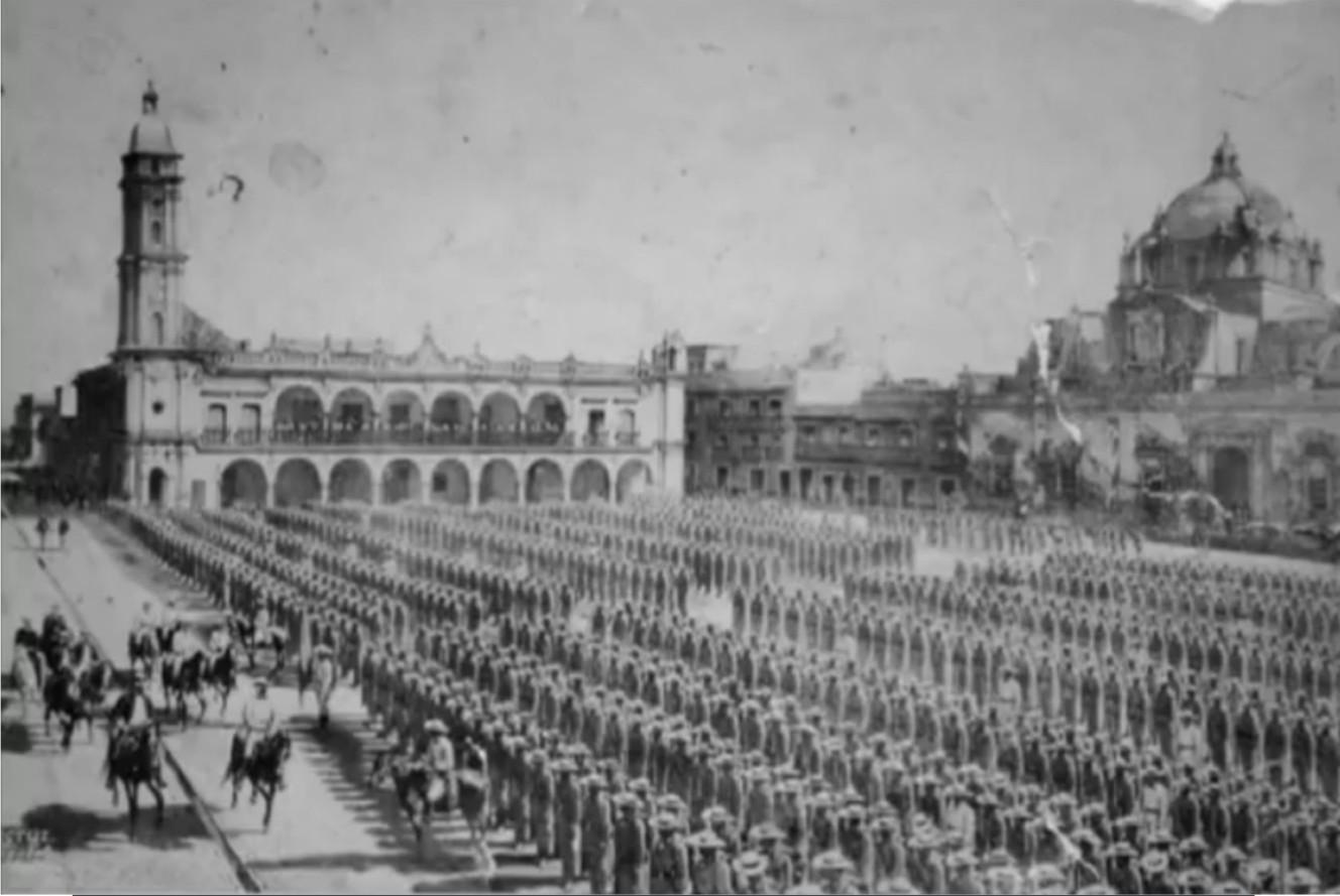 El general Juan Prim pasando revista a las tropas españolas en enero de 1862
