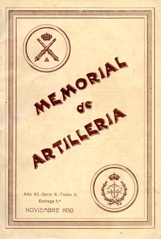 Memorial de Artillería Año 1930